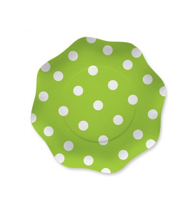 Piatto verde con pois 18 cm 10 pezzi Big party